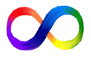 neurodiversity symbol: infinity sign in spectrum of colours